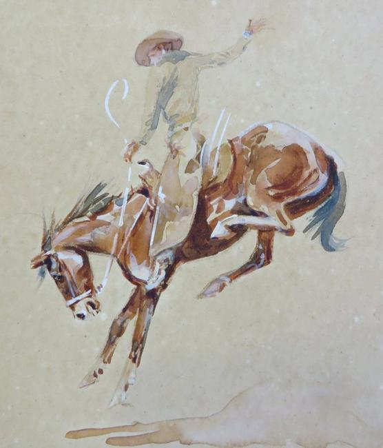 This original Buckin' Bronco rendering by Edward Borein (Am., 1872-1945), signed and framed, will be sold at auction May 23rd.