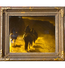 Original painting by Edward Sheriff Curtis (American 1868-1952), titled The Vanishing Race-Navajo (1904), orotone, artist signed lower right (est.  $6,000-$9,000).