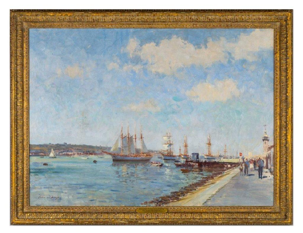 Oil on canvas painting by Edward Seago (British, 1910-1974), titled Bacalhau Schooners Drying Sails on the Tagus, artist signed (est.  $20,000-$40,000).