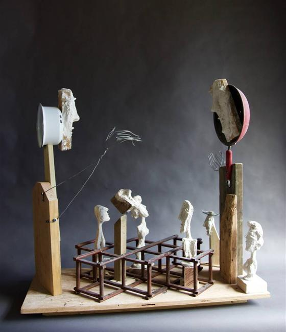 Emil Silberman, The Game,Wood & Mixed Media, 35'' x 37.5''