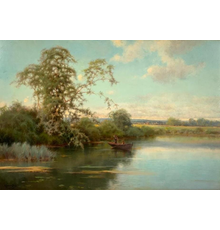 Oil on wood panel tranquil river scene with two boys in a boat by Emilio Sanchez Perrier (Spanish, 1855-1907), artist signed (estimate: $6,000-$9,000).
