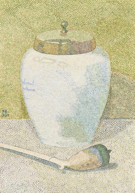 Hendricus Peter Bremmer 1871 Leiden – The Hague 1956 Stilleven met Delftsch Snuifpotje Tobaccojar of Delft with pipe Watercolor on laid paper, 1907