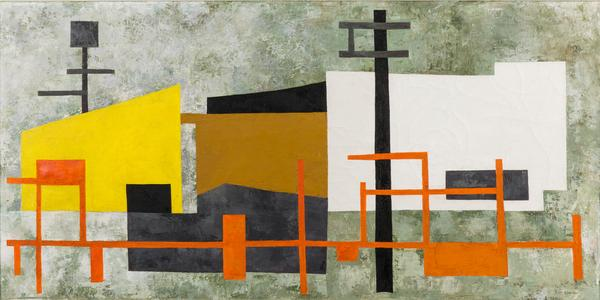 Louise Stanton (Illinois, 1915-2005), Industrial Abstract, Oil on Canvas