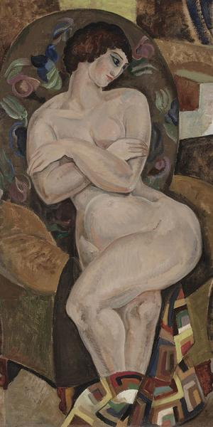 "Marguerite Thompson Zorach, Nude, 1922, oil on canvas, 40 1/4"" x 30"", Worcester Art Museum, Eliza S.  Paine Fund and a partial gift of Dr.  Robert A.  Johnson1977.130"