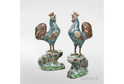 Pair of Large Bronze and Cloisonné Roosters, China (Lot 333, Estimate $20,000-30,000)
