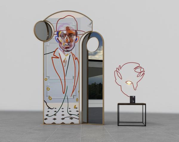 Left: 'Emissary Mirror & Screen Divider', in brass with mirror & silkscreen print, 175 cm H, edition of 50 (£8,995).  Right: 'Homme Table Lamp', in Carrara marble & steel, 75 cm H, edition of 50 (£3,750) (AEDITIONS / Loribelle Spirovski)