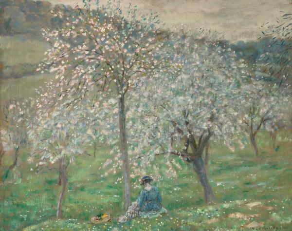 Frederick Carl Frieseke (1874-1939), Spring Blossoms, circa 1921, Oil on canvas, 25 1/2 x 32 in.  The Marian Sulzberger Heiskell and Andrew Heiskell Collection.  Est.  $80,000-120,000