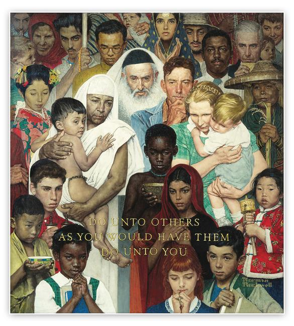 "Norman Rockwell (1894-1978), Golden Rule, 1961.  Oil on canvas, 44 ½"" x 39 ½"".  Cover illustration for The Saturday Evening Post, April 1, 1961.  Collection of Norman Rockwell Museum."