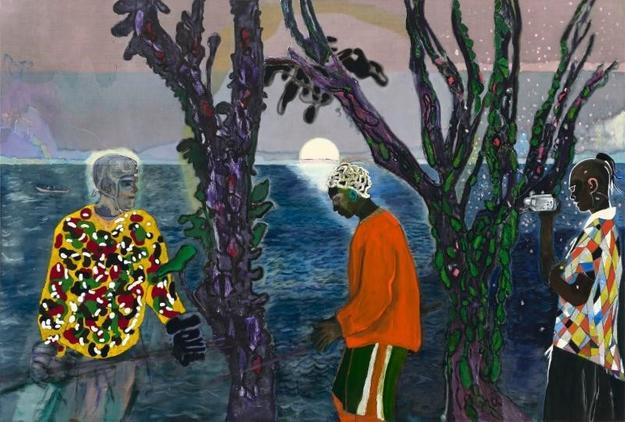 Peter Doig (British, born 1959), Two Trees, 2017.  Oil on linen,94 1/2 in.  × 11 ft.  7 3/4 in.  (240 × 355 cm).  The Metropolitan Museum of Art, Gift of George Economou, in celebration of the Museum's 150th Anniversary, 2018 © Peter Doig / 2019 Artists Rights Society (ARS), New York