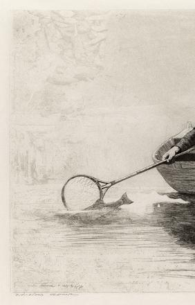 Winslow Homer, Fly Fishing, Saranac Lake, etching, 1889.  Estimate $80,000 to $120,000.