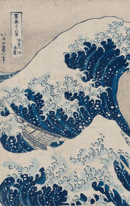 atsushika Hokusai, Under the Wave off Kanagawa (Kanagawa oki nami ura), also known as the Great Wave, from the series Thirty six Views of Mount Fuji (Fugaku sanjûrokkei), Japanese, Edo period, about 1830–31.  Woodblock print (nishiki e); ink and color on paper.  William Sturgis Bigelow Collection.