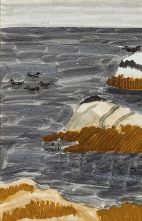 Milton Avery, Roosting Seagulls in Lavendar Sea