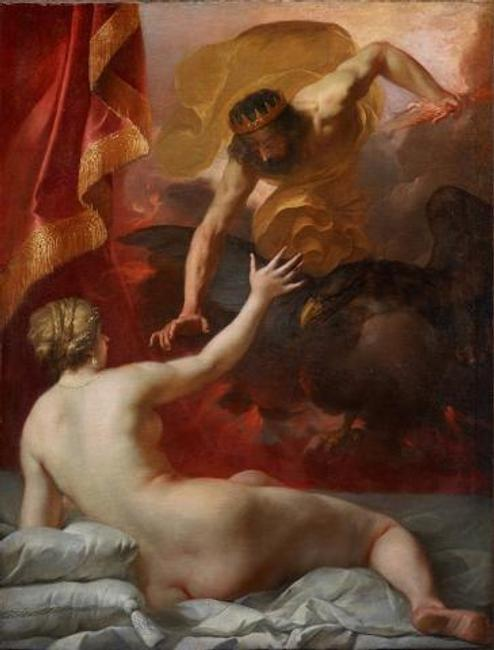 Jacques Blanchard, Zeus and Semele, c.  1632, oil on canvas, Dallas Museum of Art, Foundation for the Arts Collection, gift of Mr.  and Mrs.  Thomas C.  Campbell, 2017.42.FA