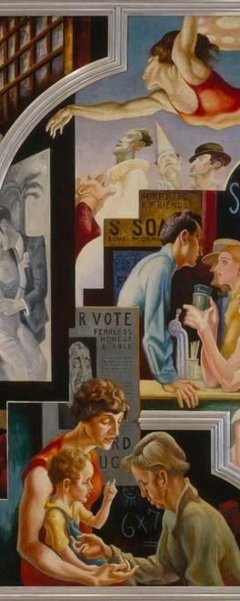 Featured on the Met's Teen Blog is a post with Thomas Hart Benton's (American, 1889–1975).  City Activities with Dance Hall from America Today (detail), 1930–31.  Mural cycle consisting of ten panels.  Egg tempera with oil glazing over Permalba on a gesso ground on linen mounted to wood panels with a honeycomb interior.  The Metropolitan Museum of Art, New York, Gift of AXA Equitable, 2012.