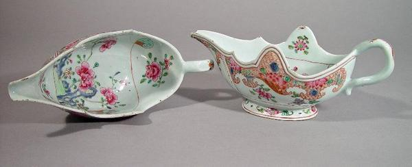 A pair of Chinese export Famille Rose sauce boats, circa 1765.