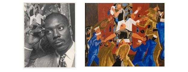 Left: Jacob Lawrence, 1957 / Alfredo Valente, photographer.  Alfredo Valente papers, 1941-1978.  Archives of American Art, Smithsonian Institution.  Right: Jacob Lawrence, Naples - 1944, painted in 1947, egg tempera on hardboard, 16 x 20 inches, signed and dated lower right.  Artwork © 2017 The Jacob and Gwendolyn Knight Lawrence Foundation, Seattle / Artists Rights Society (ARS), New York.