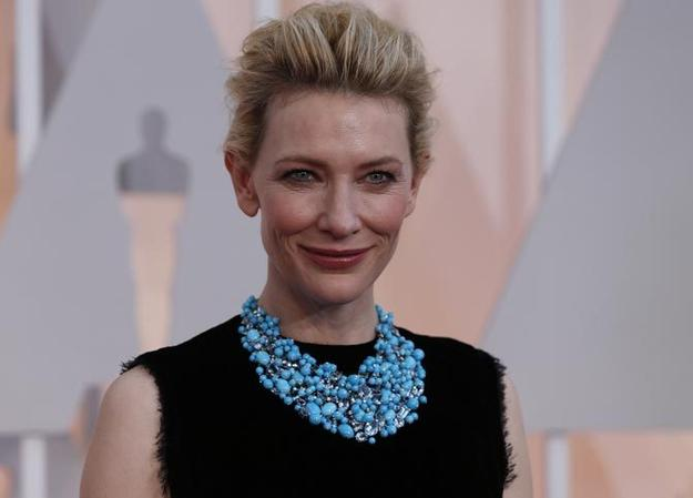 Actress Blanchett donned a statement Tiffany necklace for the 87th Academy Awards in Hollywood on Feb.  22, 2015.