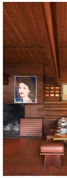 Dining Room of the Frank Lloyd Wright Sturges Residence featuring works by Andy Warhol, David Hockney, Alex Katz, and Frank Lloyd Wright sold at auction to benefit The Bridges/Larson Foundation February 21, 2016 Modern Art & Design Auction at LAMA