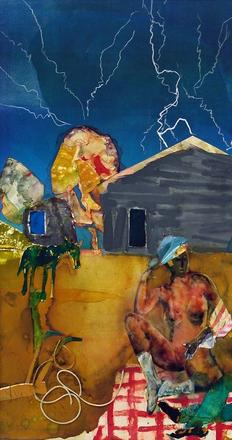 Romare Bearden.  Mecklenburg Autumn: Heat Lightning Eastward, 1983.  Collage and oil on fiberboard, 31 x 40 inches.