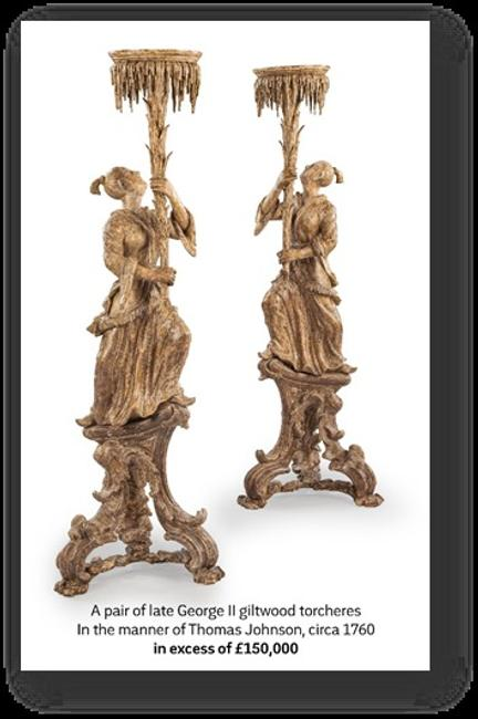 Pair of late George II giltwood torcheres in the manner of Thomas Johnson