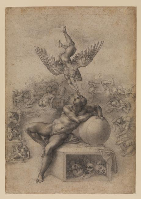Michelangelo Buonarroti (1475-1564) The Dream of Human Life, c.  1533.  Black chalk, 39.4 x 27.7 cm.  The Courtauld Gallery, London