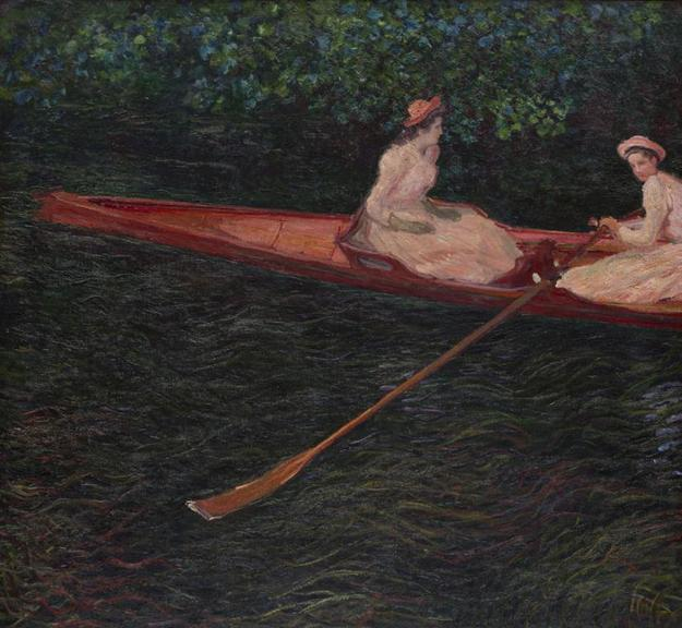 Claude Monet, The Canoe on the Epte, about 1890.  Oil paint on canvas; 52.55 x 57.5 in (133.5 x 146 cm).  Purchase, 1953.  Inv.  MASP.00092.  Collection Museu de Arte de São Paulo Assis Chateaubriand.