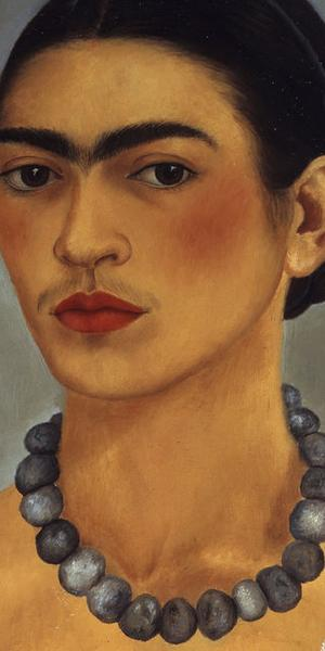Frida Kahlo, Self-portrait with necklace, 1933.  Oil on metal, 13 4/5 × 11 2/5 in.  The Jacques and Natasha Gelman Collection of Mexican Art © 2016 Banco de Mexico Diego Rivera Frida Kahlo Museums Trust, Mexico DF / Artists Rights Society (ARS), New York