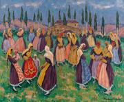 Folk Dancers by Jacques Martin-Ferrières.  The artist's inimitable technique, rich with swift and short brushstrokes of opaque color, reveals the strong influence of his father, Henri Martin, and the legendary Post-Impressionist generation before him.