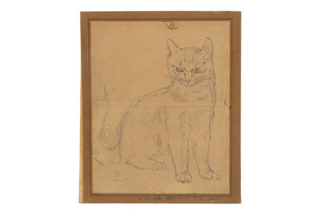 Léonard Tsuguharu Foujita (Japanese-French, 1886-1968) Staring cat, circa 1930 pencil drawing on paper Estimate: $2,000-4,000