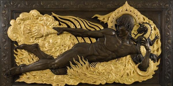 Paul Manship, Fire (from The Four Elements), commissioned in 1914, installed 1921 in the American Telephone and Telegraph Building, 195 Broadway, New York (designed by Wm Welles Bosworth).  Parcel-gilt bronze relief.  Courtesy of Gerald Peters Gallery.  Private collection.  © Estate of Paul Manship