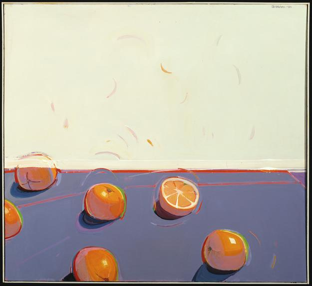 Raimonds Staprans, Four Windswept Oversize Oranges, 2000.  Oil on canvas, 44 x 48 inches.  The Glass Family Collection