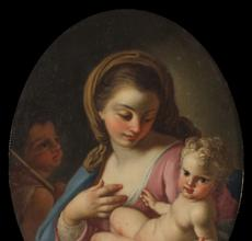 Oil on copper painting by Francesco de Mura (It., 1696-1782), titled Madonna and Child with the Infant Saint John the Baptist (est.  $4,000-$6,000).