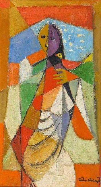 Cubist painting by the Russian Federation artist Frantisek Reichenthal (Slovakian-American, 1895-1971), of a woman holding a bird in a vibrant color palette (est.  $3,000-$5,000).