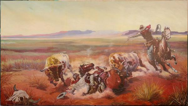 Original painting by Nevada gaming artist Franz Trevors (American, 1907-1980), commissioned by Felix Turrillas, Jr., signed and dated 1944, of cowboys roping steer (est.  $10,000-$15,000).