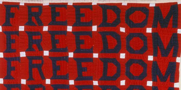 reedom Quilt; Jessie B.  Telfair (1913–1986); Parrott, Georgia 1983; Cotton, with pencil; 74 x 68 in.; Collection American Folk Art Museum, New York; Gift of Judith Alexander in loving memory of her sister, Rebecca Alexander, 2004.9.1⠀ Photo by Gavin Ashworth⠀