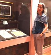 Anna Pinto at the Grolier Club, for The Calligraphy Revival exhibition.