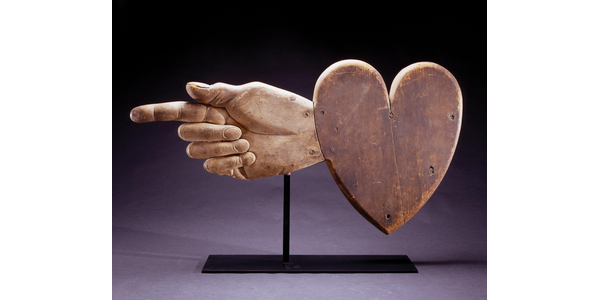 Ezra Ames and Bela Dexter; Heart and hand weathervane; Chelsea, Massachusetts, 1839.  Carved white pine with original paint, 21 x 39 in.  Private collection.  Photograph courtesy David A.  Schorsch and Eileen M.  Smiles, Woodbury, CT.