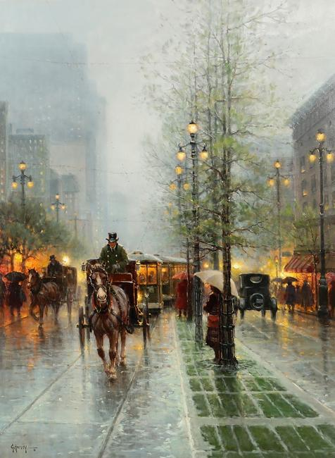 Oil on canvas painting by G.  (Gerald Harvey Jones) Harvey (American, 1933-2017), titled Carriages on Canal Street, New Orleans, 40 inches by 30 inches.