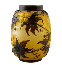 "Circa 1900 Galle Clematis vase, 9 ¾ inches tall and signed on the side in cameo ""Galle"", a strong candidate for top lot of the auction, with an estimate of $6,000-$9,000."