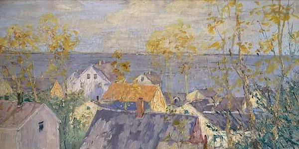 GARVEY RITA ART & ANTIQUES: Caleb Arnold Slade (1882-1961) Provincetown Rooftops.  Oil on canvas, 24 x 30 inches.
