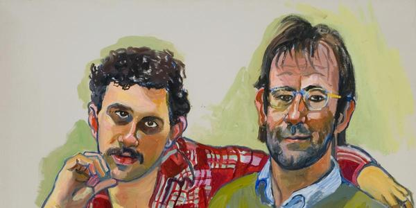 Alice Neel (America, 1900-1984).  Geoffrey Hendricks and Brian, 1978.  Oil on canvas.  San Francisco Museum of Modern Art, Purchase, by exchange, through an anonymous gift.  © The Estate of Alice Neel