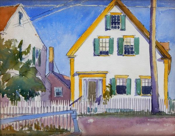 Watercolor on paper by George Copeland Ault (N.Y./Ohio/England, 1891-1948), titled White and Yellow: Provincetown, 10 ¼ inches by 14 inches (sight) (est.  $1,500-$2,500).