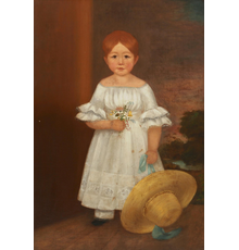 Full-length oil on canvas portrait of a girl in a white dress with flowers thought to be Elizabeth O'Kane, 1842, by George Henry Durrie (American, 1820-1863), estimate $5,000-$7,000.