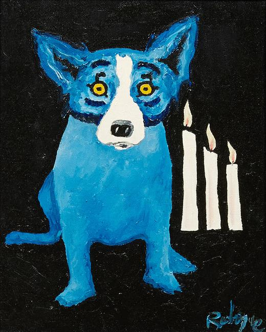 Original oil on canvas painting by George Rodrigue (Louisiana, 1944-2013) from the artist's famous Blue Dog series, titled Flames of Hope (1992), signed and titled (est.  $20,000-$40,000).