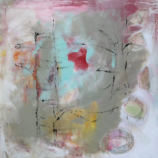 Gerlinde Amei Wöllmer, Abstrakt, Mixed Media & Acrylic on Canvas, 31.5'' x 31.5''