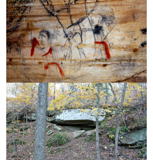 One of 290+ prehistoric glyphs on the cave walls of Picture Cave.  This example shows Anthropomorphs with red sashes and accents and a Cave entrance.