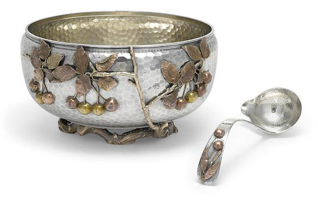 American sterling silver and mixed-metal Japanese style punch bowl and ladle, 1881, by Gorham Mfg.  Co., Providence, RI, h.  6 1/4in (15.75cm);x d.  12in (30.5cm); ladle length 11in (28cm)