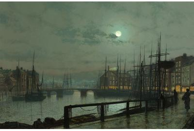 "The ethereal light of the moon cast a glow upon this nocturnal dock scene painted by Grimshaw in 1883 entitled ""Whitby"""