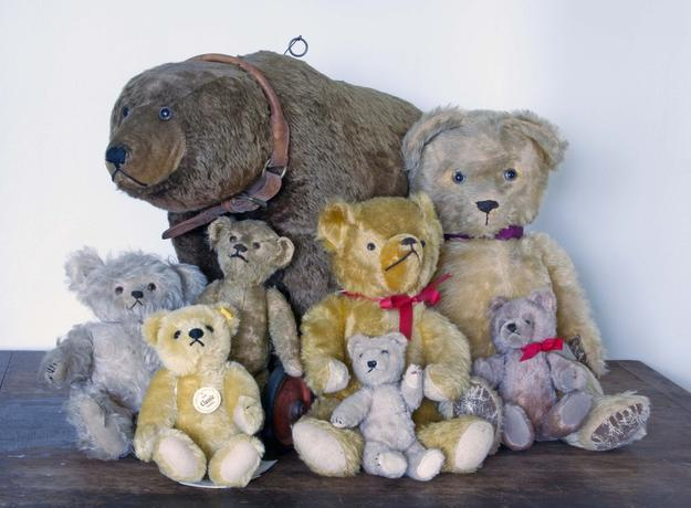 A massive single-owner lifetime collection of toy bears, to include these shown, will be sold at auction Sept.  19th in Woodstock Valley, Conn., at 12 noon.