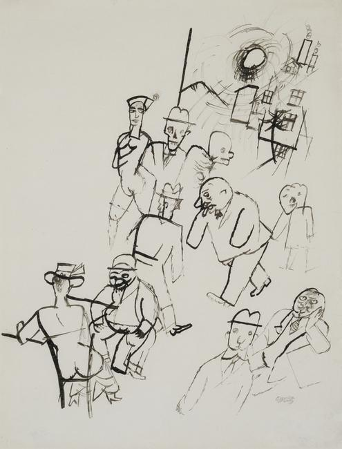 """Street Scene"" ink drawing by George Grosz, 22 3/4 x 17 1/4 in., 57.8 x 43.8 cm"